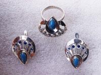 Увеличить изображение амулета | Серьги и кулон с лазуритом в серебре