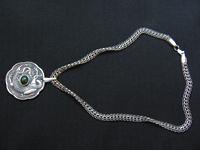 Увеличить изображение амулета | Медальон с драконом (серебро, нефрит)